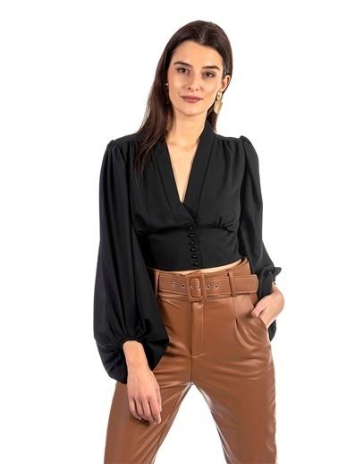Coral  Beli Korsajlı Top Bluz Siyah Siyah